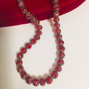 VTG Red Crystal Bead Necklace